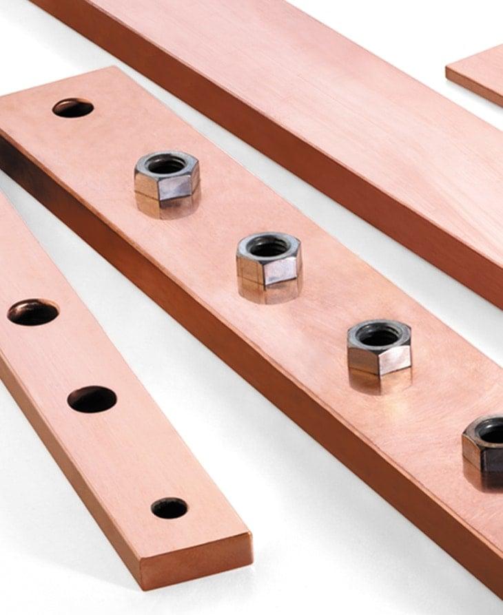 Piezas de cobre según plano