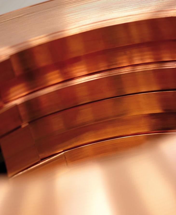 Pletina cobre suministro rollo